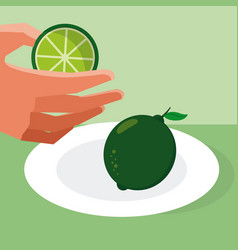 Hand grabbing lemon vector