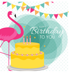 Happy birthday poster background with cake vector
