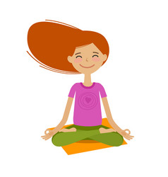 happy girl sitting in lotus pose yoga fitness vector image