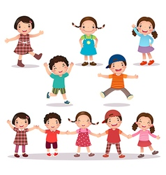 Happy kids cartoon holding hands and jumping vector image
