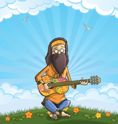 Hippie with guitar outdoor vector image