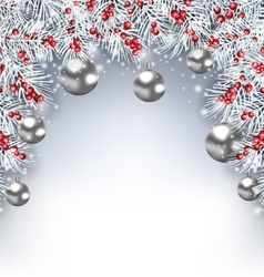 Holiday Glowing Background with Silver Fir vector image