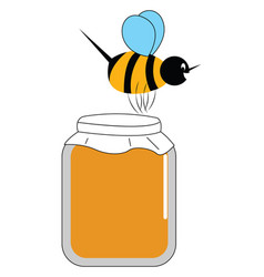 honey bee on honey or color vector image