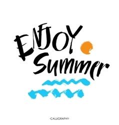 Inscription enjoy summer great summer gift card vector