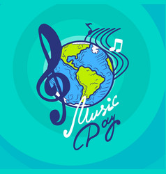 International music day concept background hand vector