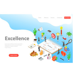 isometric landing page template of business vector image