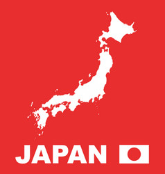 japan map on red background vector image