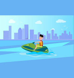 jet ski summer activity sea vector image