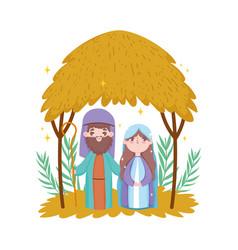joseph and mary hut desert manger nativity merry vector image