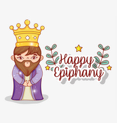 King wearing crown with branches leaves plants vector