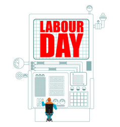 labor day worker in helmet at work international vector image