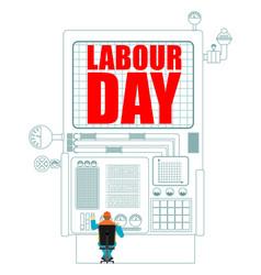 Labor day worker in helmet at work international vector