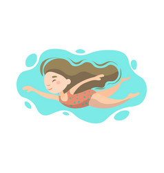 little cute girl swimming underwater in sea ocean vector image