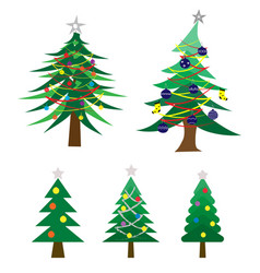 many style of decoratec christmas tree vector image