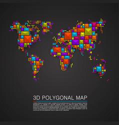 Map 3d polygon art cube vector