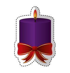 Merry christmas candle decorative card vector