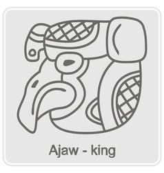 Monochrome icon with Maya hieroglyphs vector