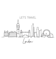 one continuous line drawing london city vector image