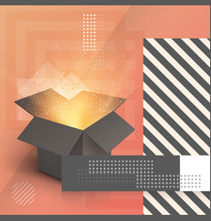 open box realistic 3d magic box on modern 90s vector image