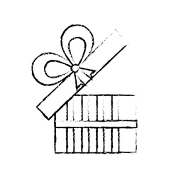 Open gift box ribbon give party sketch vector