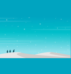 Penguin silhouette on snow hill landscape vector