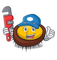 Plumber sea urchin mascot cartoon vector