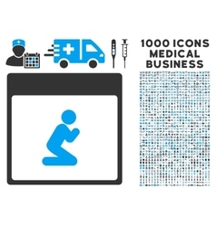 Pray Person Calendar Page Icon With 1000 Medical vector