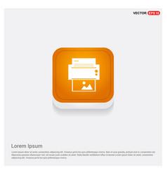 printer icon orange abstract web button vector image
