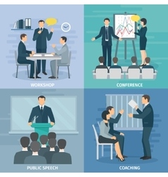 Public Speaking 4 Flat Icons Square vector