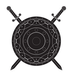 round shield with swords black flat icon vector image