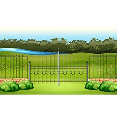 Scene with metal fence in the garden vector image