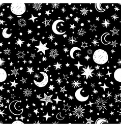 Seamless pattern with handdrawn stars and moons vector