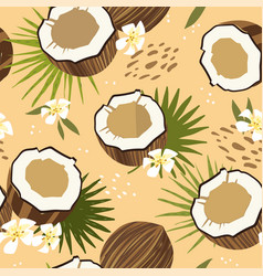seamless patterns with coconut and exotic flowefs vector image