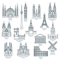 set of attractions of europe vector image