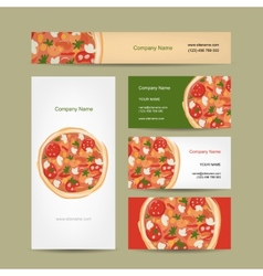 Set of business cards design with pizza vector