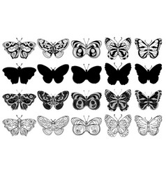 set of butterflies black and white vector image