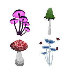 Set of fantasy mushroom icons game asset vector