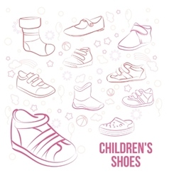 Set of kid s shoes painted lines vector