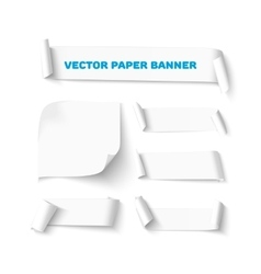 Set White blank paper curved horizontal banners vector image