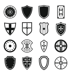 Shield frames icons set simple style vector