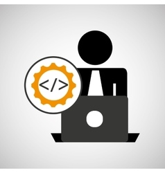 Silhouette programmer working laptop coding icon vector