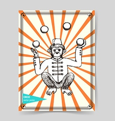 Sketch mokey juggler in vintage style vector
