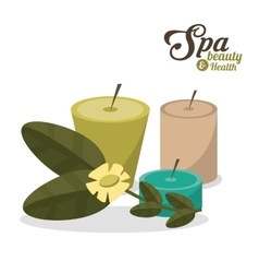 Spa beauty health aroma candles with flower vector
