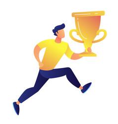 sportsman holding big gold trophy cup award vector image