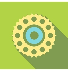 Sprocket for bicycle icon flat style vector