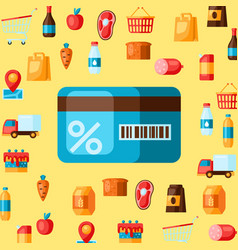 supermarket shopping discount card with products vector image