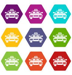 taxi car icon set color hexahedron vector image