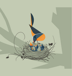 The bird feeds the chicks in the nest vector