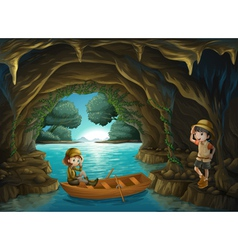 The two brave girls at the cave vector