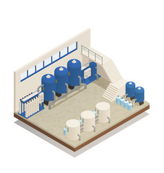 Water cleaning facility isometric composition vector
